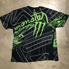 Monster Energy Drink XL T Shirt All Over Print Front and Back Maze / Game