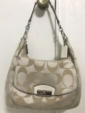 COACH Kristin Signature large hobo purse and shoulder bag cream/ white f22310