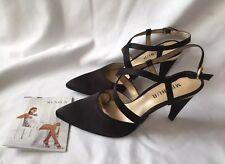 New Menbur Ladies Black Silk Heeled Sandals Size 4(37)& Box