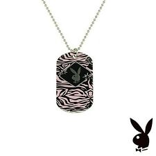 Playboy Necklace Dog Tag Pendant w Chain Bunny Pink Black Silver Stainless Steel