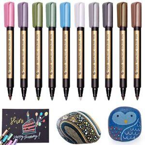 10Pcs Waterproof Metallic Paint Silver Marker Pens Sheen Glitter Arts DIY Kit