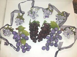 Grape Sugar Coated Garland & Grapes Home Decor