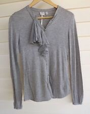 Esprit Women's Grey Button-Up Long-Sleeve Top with Fabric Ruffle - Size S