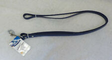 """Petmate Leather Dog Leash NWT Navy Silver Hardware 3/8"""" X 5' Rotating Connector"""