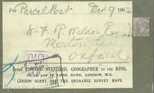 R298a 1902 ROYALTY Parcel Post Geographer to KEVII/Complete Label on Piece