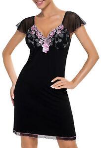 sexy Nachtkleid Negligee Damen Nachtwäsche Nachthemd schwarz Spitze