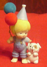 Enesco Country Cousins Scooter Birthday Hat & Dog and Balloon