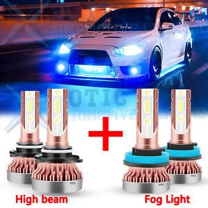 For Mitsubishi Lancer 2008-2015 8000K Ice Blue COB LED High Beam Fog Light Bulbs