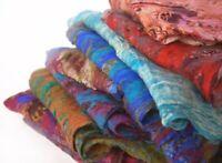 Handmade Merino Felt wool on Silk Scarf for Winter Fall from Nepal