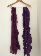 Women's Scarfs X2 Purple Woolly Lightweight Casual <JJ540