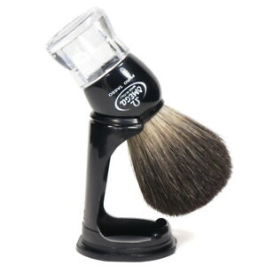 Real Badger Hair 24mm/47mm Shaving Brush With Stand Plastic Handle Omega Italy