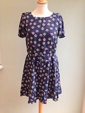 DRESS SIZE 14 BY PAUL & JOE SISTER KITTEN PRINT LINED AIRFORCE BLUE PINK BNWT