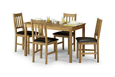 Solid Oak Dining Set with 4 Brown pu Leather Espresso Chairs