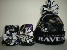 RAVENS BABY HAT HANDMADE newborn BEANIE & BOOTIES FLEECE SET NFL BALTIMORE