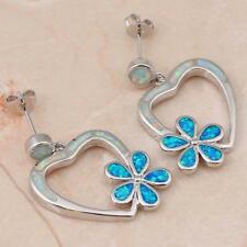 ****GORGEOUS** Silver/Rhodium Plated WHITE/BLUE FIRE OPAL STUD Drop Earrings