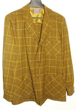 60s Vintage Pendleton Plaid Wool Field Coat Shirt Hunting Jacket Sz M browns