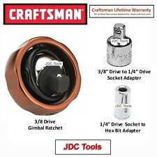 Craftsman Gimbal Palm 3/8 Drive Ratchet with Adapters 3 pc set NEW