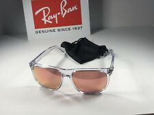 Nice Ray Ban RB 4147 Gloss Clear 6325/E4 Sunglasses W/Pink Flash Lens 56/15/145