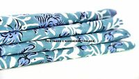 2.5 Yards Floral Indian Cotton Voile Hand Block Print Turquoise Floral Fabric