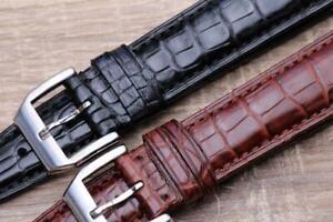 Veritable Alligator Leather Elegant Padded Watch Strap