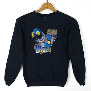 Vintage 90s St. Louis Blues NHL Graphics Sweatshirt Youth Kids L NWOT Blue Crew