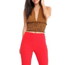 Gingham Check Crop Top Tie Knot HalterNeck Shirred Bralet Womens Vest Top Cheap