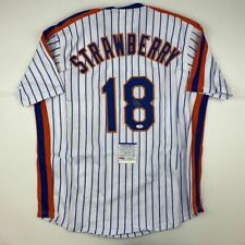 Autographed/Signed DARRYL STRAWBERRY New York Pinstripe Baseball Jersey PSA COA