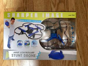 Stunt Drone Quad Copter Sharper Image Black Blue Single Hand Control New RTF