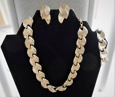 RARE VINTAGE SIGNED GOLD TONE CORO SET, NECKLACE. BRACELET, EARRINGS, BAGUETTES!