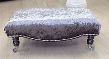 New Large Footstool/coffee Table, Silver Crushed Velvet,