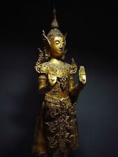 ANTIQUE BRONZE STANDING CROWNED RATTANAKOSIN BUDDHA. TEMPLE RELIC 18/19th C.