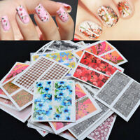 50 Sheets Nail Art Flower Wrap Water Transfers Decals Stickers Floral Gel Polish