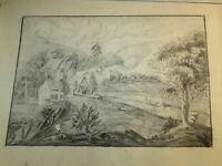 Ecole FRANCAISE XVIII DESSIN PIERRE NOIRE PAYSAGE ANIME ART POPULAIRE 1780 j