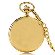 Cool Full Hunter Gold Smooth Analog Men Women Quartz Pocket Watch FOB Chain Gift