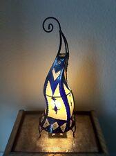 Painted Moroccan Henna Table / Floor Lamp- Round - purple-cream 60CM
