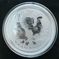 2017 Australian Lunar Series II Year Of The Rooster 2 Ounce .9999 Silver BU Coin