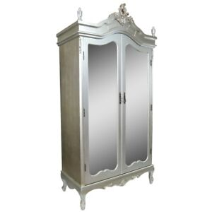 French Antique Silver Chateau Shabby Chic Mirrored Double Armoire Wardrobe