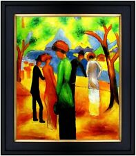 Framed, August Macke Lady in Green Repro, Hand Painted Oil Painting, 20x24in