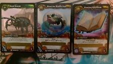 Sand Scarab, Floating Spellbook, Bloat the Bubble Fish WoW TCG loot cards