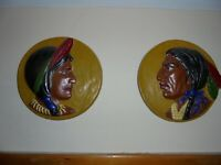 Native American (1950's) plaster wall plaques AMERICAN INDIANS