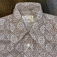 NEW Vtg 60s 70s FLEETLINE Disco Dress Shirt BROWN Perma Press Mod MENS SMALL NOS
