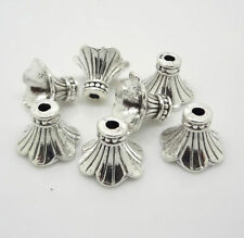 100pcs Tibetan Silver Flower Beads End Caps Jewelry Finding 11x9mm 11210-1