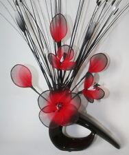 Artificial Flowers - Red Black Nylon Net Flower Arrangement in Small Vase-