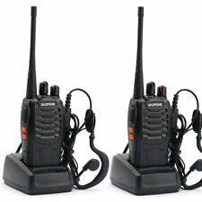 2 Walkie Talkie UHF 400-470MHZ 2-Way Radio 16CH 5W BF-888S Long Range &Earphones