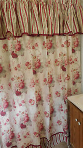 Waverly-Norfolk Rose Fabric Shower Curtain-100% Cotton-Built in Valance