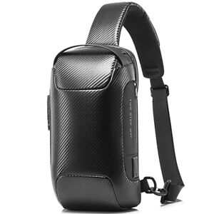 Men's Sling Backpack Carbon Fiber Waterproof&Anti-Thef Crossbody Sport Chest Bag