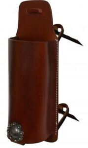 Showman MEDIUM OIL Leather Drink Holder Saddle Accessory w/ Concho!! NEW TACK!!
