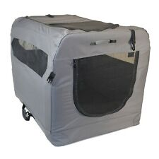 Medium Grey Soft Sided Portable Dog Crate House by PortablePET