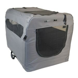 Large Grey Soft Sided Portable Dog Crate House by PortablePET