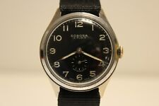 "VINTAGE RARE MILITARY STYLE SUB SECOND SWISS MEN'S 37mm WATCH ""SOBOSA"" 15 J."